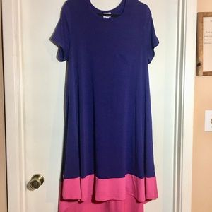Lularoe Blurple & Pink Carly Dress 2XL